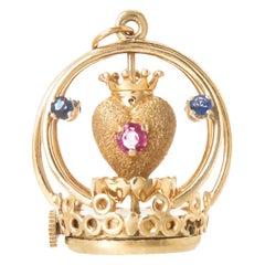 Dankner 1960s Gold and Gem Set Mechanical Sacred Heart Charm