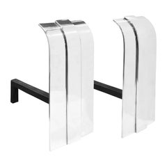Danny Alessandro Pair of Beautiful Andirons in Polished Steel, 1980s