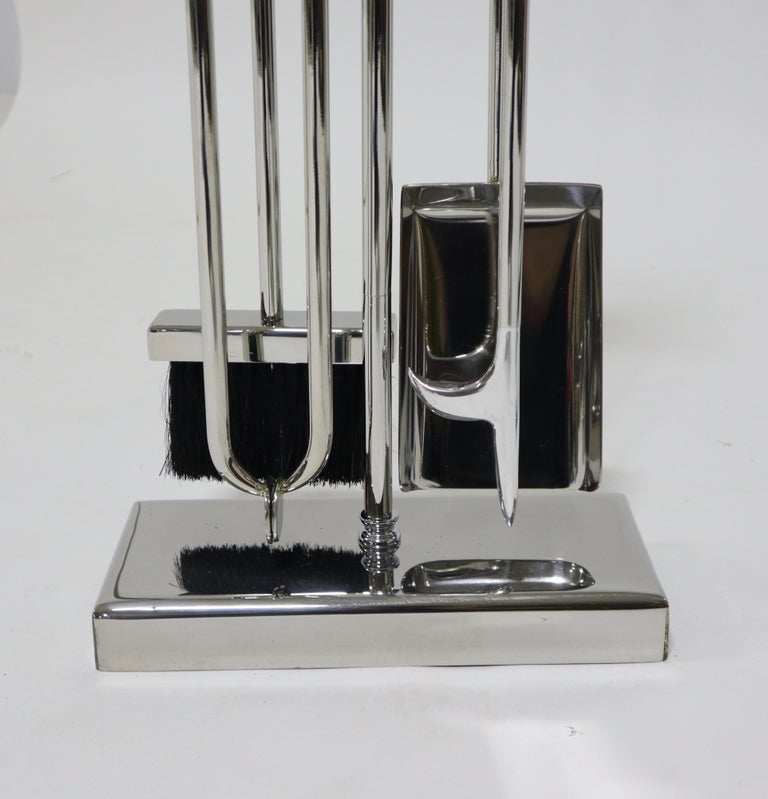 Nickel Danny Alessandro Postmodern Fireplace Tools and Andirons For Sale