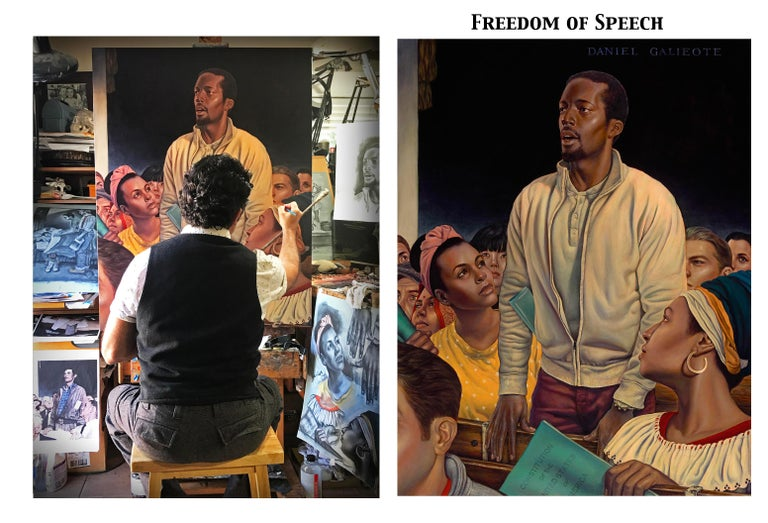 Freedom of Speech, Giclee-Ed. 2/10, Danny Galieote, Norman Rockwell's 4 Freedoms - American Realist Painting by Danny Galieote