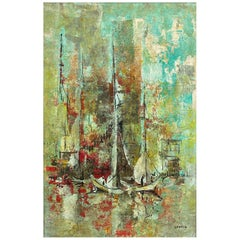 "Danny Garcia ""Docked Sailboats"" #941, Large Expressionist Painting, 1965"
