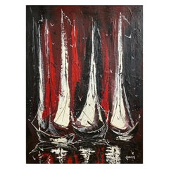 "Danny Garcia ""Moored Sailboats"" #2239, Expressionist Mixed-Media Painting, 1968"