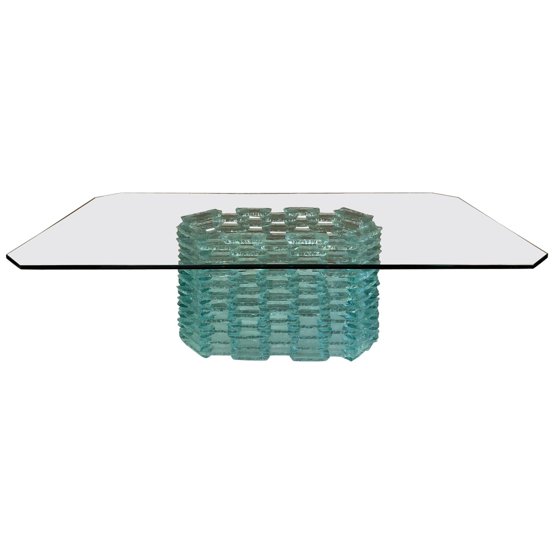 Danny Lane Style Tinted Glass Coffee Table