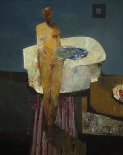 """""""Bather,"""" Oil Painting"""