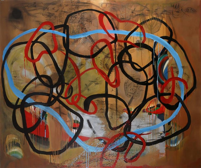 Danny Simmons Abstract Painting - Reaching to connect, earth tones, free form abstract patterns