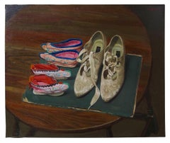 Chen Danqing 'Lotus Shoes on a Table' - still life painting