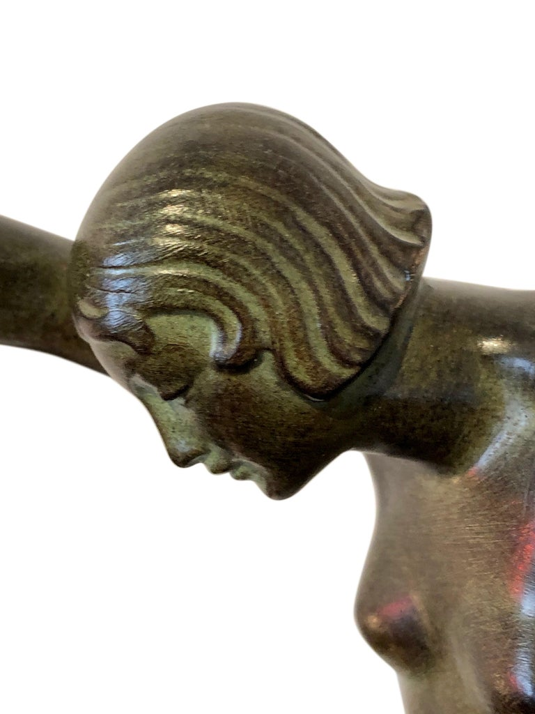 Onyx Danseuse Aux Boules French Sculpture in Spelter by Denis for Max Le Verrier For Sale