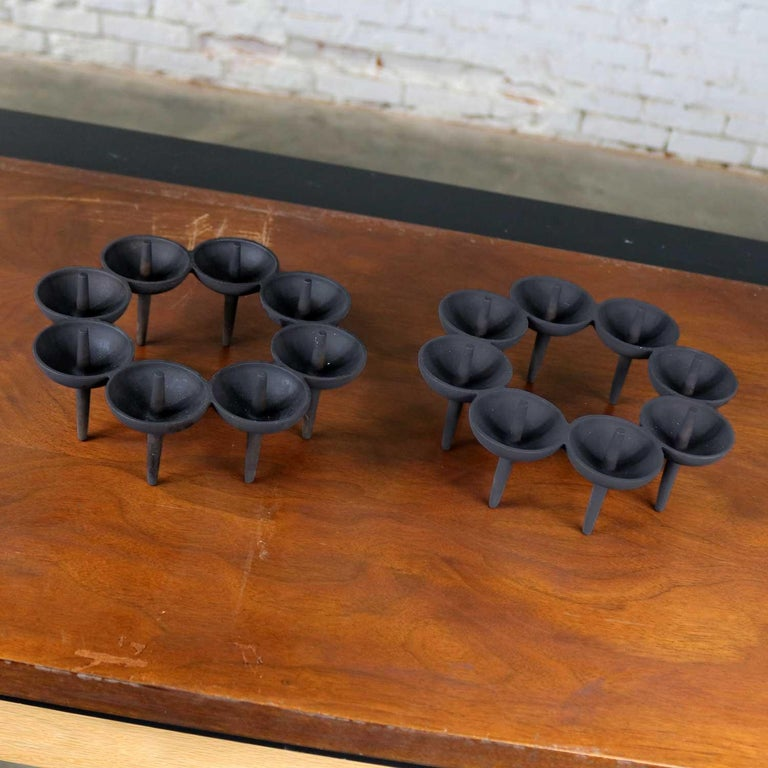 Handsome Dansk candleholders in the typical black iron finish designed by Borje Rajalin. They are in fabulous vintage condition. Please see photos, circa 1960s.  I love these Dansk candleholders! And the research finding out about them has made me