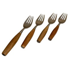 Dansk Germany Fjord Flatware Set 4 Teak & Stainless Dinner Forks Quistgaard 1954