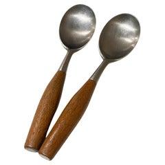 Dansk IHQ Germany Fjord 2 Large Spoons Teak & Stainless 1954 Jens Quistgaard