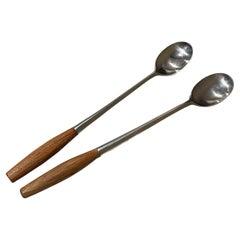 Dansk IHQ Germany Fjord Set 2 Long Cocktail Bar Tea Spoons Teak & Stainless 1954