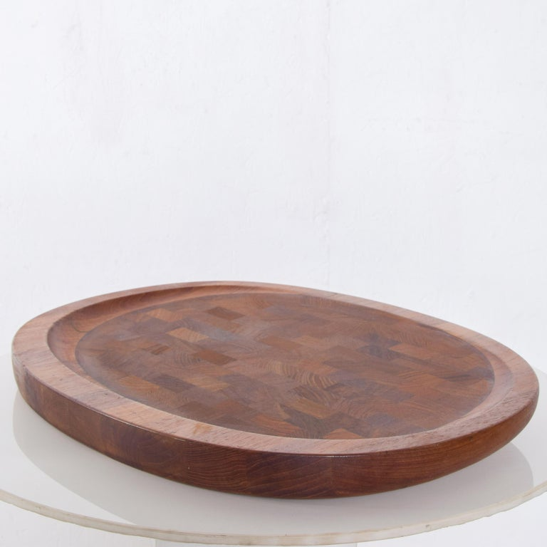 Dansk Big Staved Teak Serving Tray Carving Board Platter by Jens Quistgaard 1965 For Sale