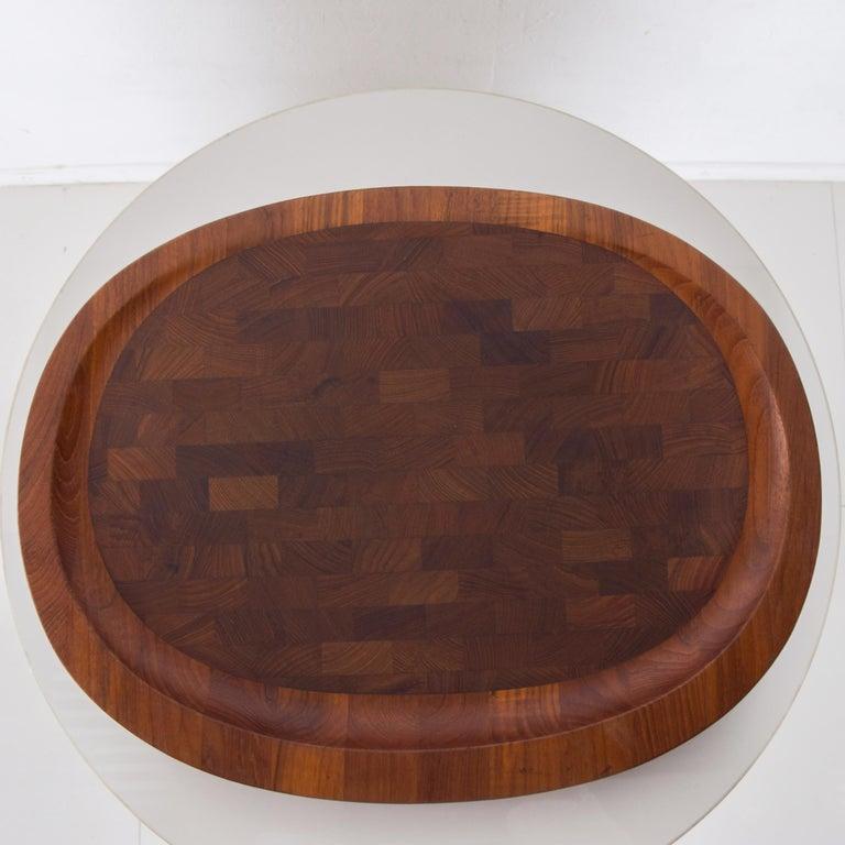 Danish Dansk Big Staved Teak Serving Tray Carving Board Platter by Jens Quistgaard 1965 For Sale