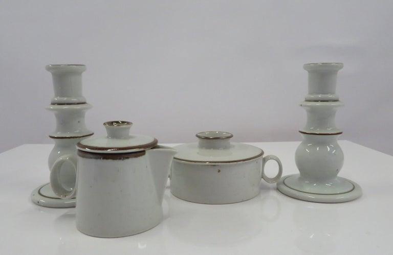Ceramic Dansk Rustic Modern Brown Mist Pattern Dinnerware Niels Refsgaard, Denmark 1970s For Sale