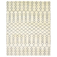 Dante, Bohemian Shaggy Moroccan Hand Knotted Area Rug, Parchment