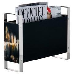 Dante Magazine Rack in Corno Italiano, Wood and Stainless Steel, Mod. 1435