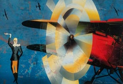 Hommage a Amelia Earhart - Colourful Figurative Print Pop art, Art deco, Vintage
