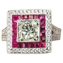 Danwak Collection 18k Gold 0.86 Carat Princess Cut Diamond and 0.52TCW Ruby Ring