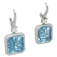 Danwak Collection 18K Gold 22.57 Carat Aquamarine and 1.76 TCW Diamonds Earrings