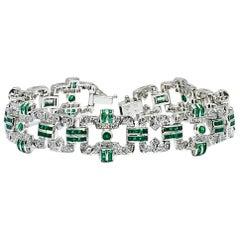 Danwak Collection 18k Gold 3.19 Carat Emerald and 1.51 Carat Diamond Bracelet