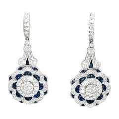 Danwak Collection 18k Gold 3.71 Carat Sapphire & 2.35 Carat Diamond Earrings