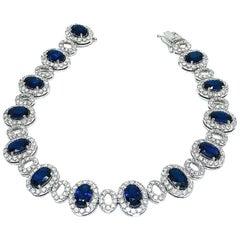 Danwak Collection 18k Gold 9.65 Carat Sapphire and 4.00 Carat Diamond Bracelet