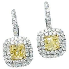 Danwak Collection 18k Gold GIA Certified 2.54 Carat Yellow Diamonds Earrings