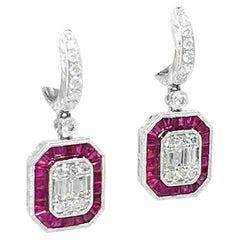 Danwak Collection 18 Karat Gold 2.60 Carat Ruby and 1.16 Carat Diamond Earrings
