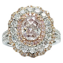 Danwak Collection GIA 1.87 Carat Fancy Brownish Pink Diamond Triple Halo Ring