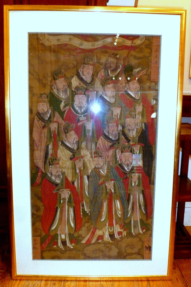 Chinese Daoist temple painting of a group of deities wearing Ming dynasty official robes, 17th century. Color on silk, conservation framed. Overall size: 51