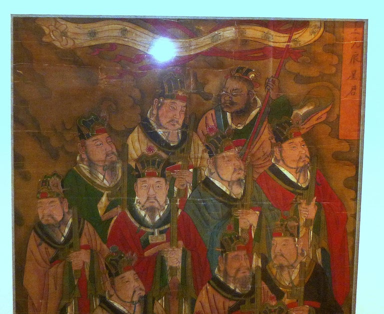 Ming Daoist Temple Painting a Group of Deities For Sale