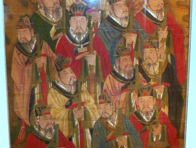 Chinese Daoist Temple Painting a Group of Deities For Sale