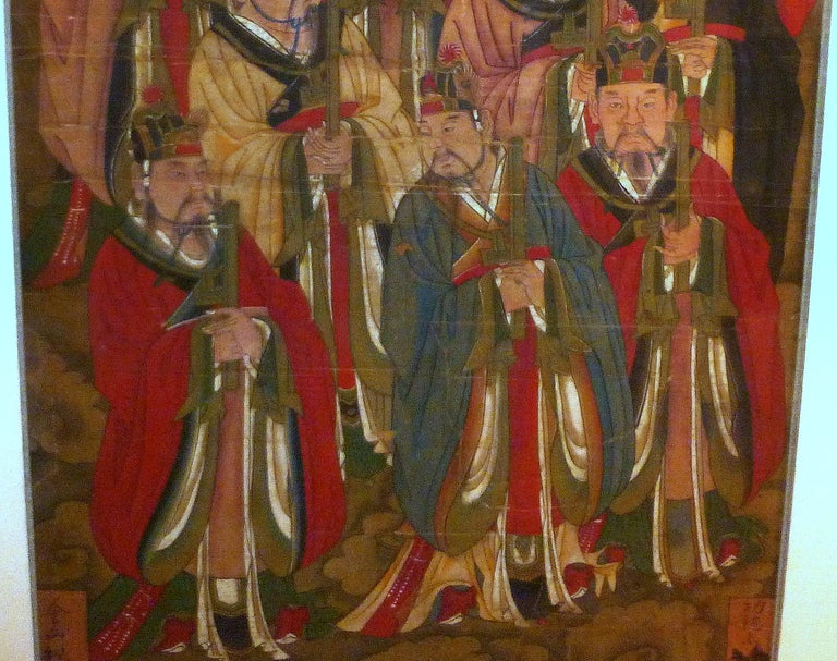 Hand-Painted Daoist Temple Painting a Group of Deities For Sale