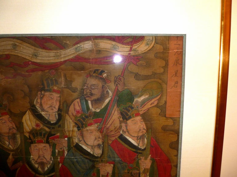 Daoist Temple Painting a Group of Deities In Good Condition For Sale In Greenwich, CT
