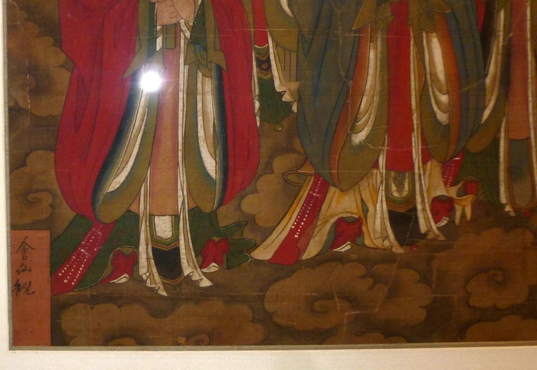 18th Century and Earlier Daoist Temple Painting a Group of Deities For Sale