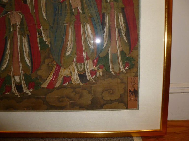 Silk Daoist Temple Painting a Group of Deities For Sale
