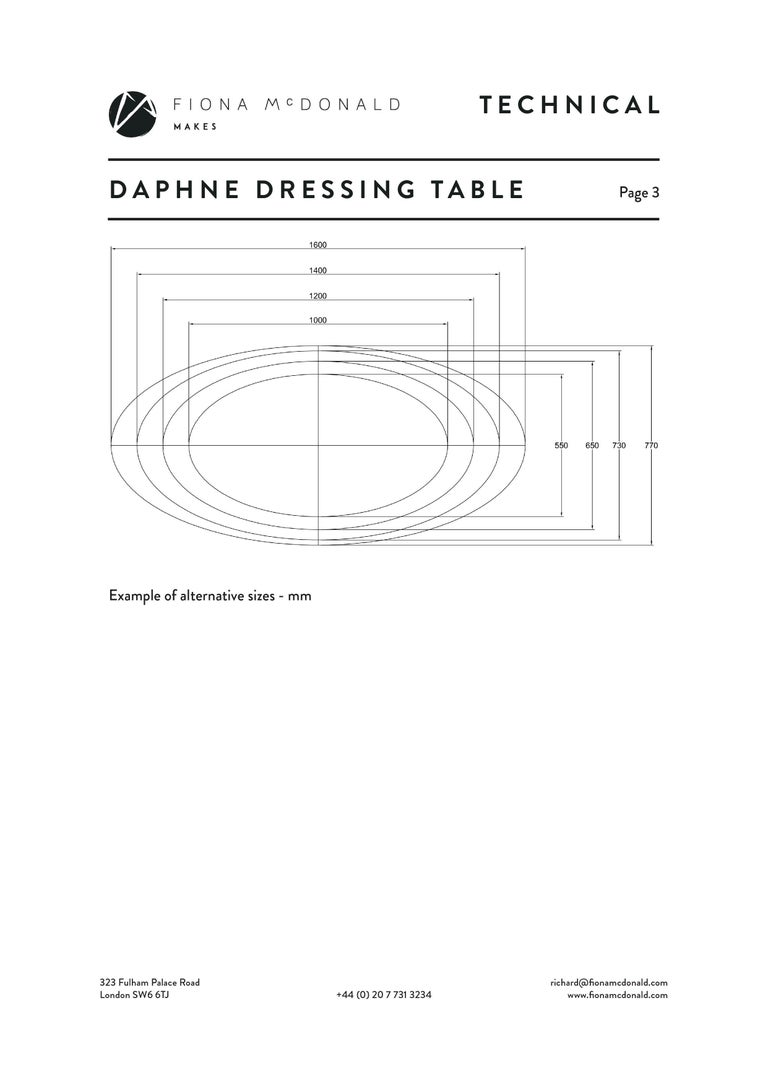 Daphne Dressing or Vanity Table - Bespoke - Walnut with Antique Silver Handles For Sale 2