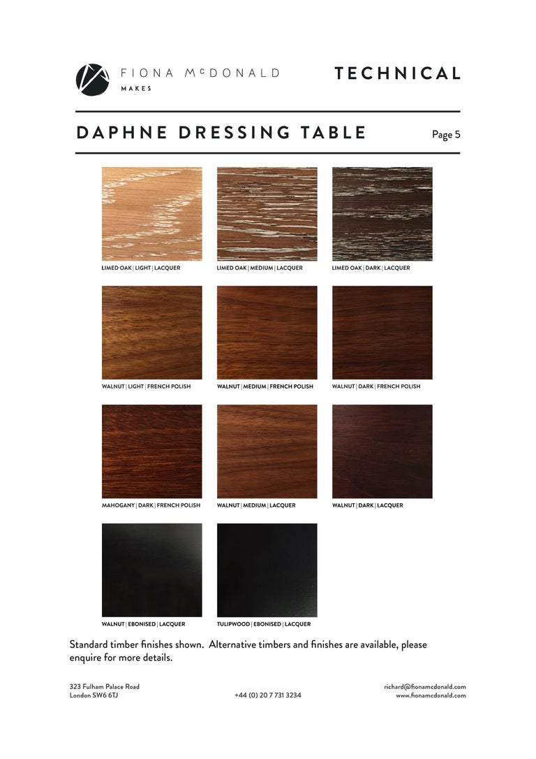 Daphne Dressing or Vanity Table - Bespoke - Walnut with Antique Silver Handles For Sale 4
