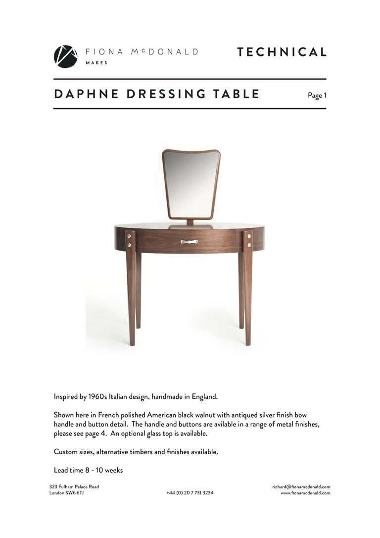 Silver Plate Daphne Dressing or Vanity Table - Bespoke - Walnut with Antique Silver Handles For Sale