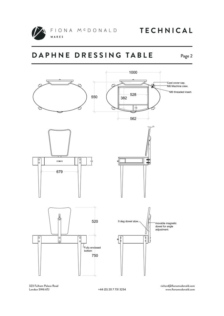 Daphne Dressing or Vanity Table - Bespoke - Walnut with Antique Silver Handles For Sale 1