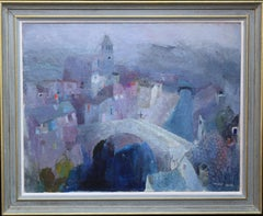Mostar Bridge Landscape - British 60's art Post Impressionist oil painting