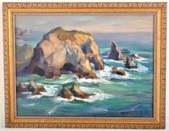 California Impressionist Oil on Canvas Painting Seascape Rocks at Malibu 1930's