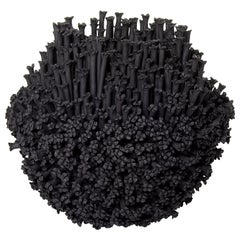 Daphne Vessel, a Floral Black Stoneware Ceramic Sculpture by Vanessa Hogge