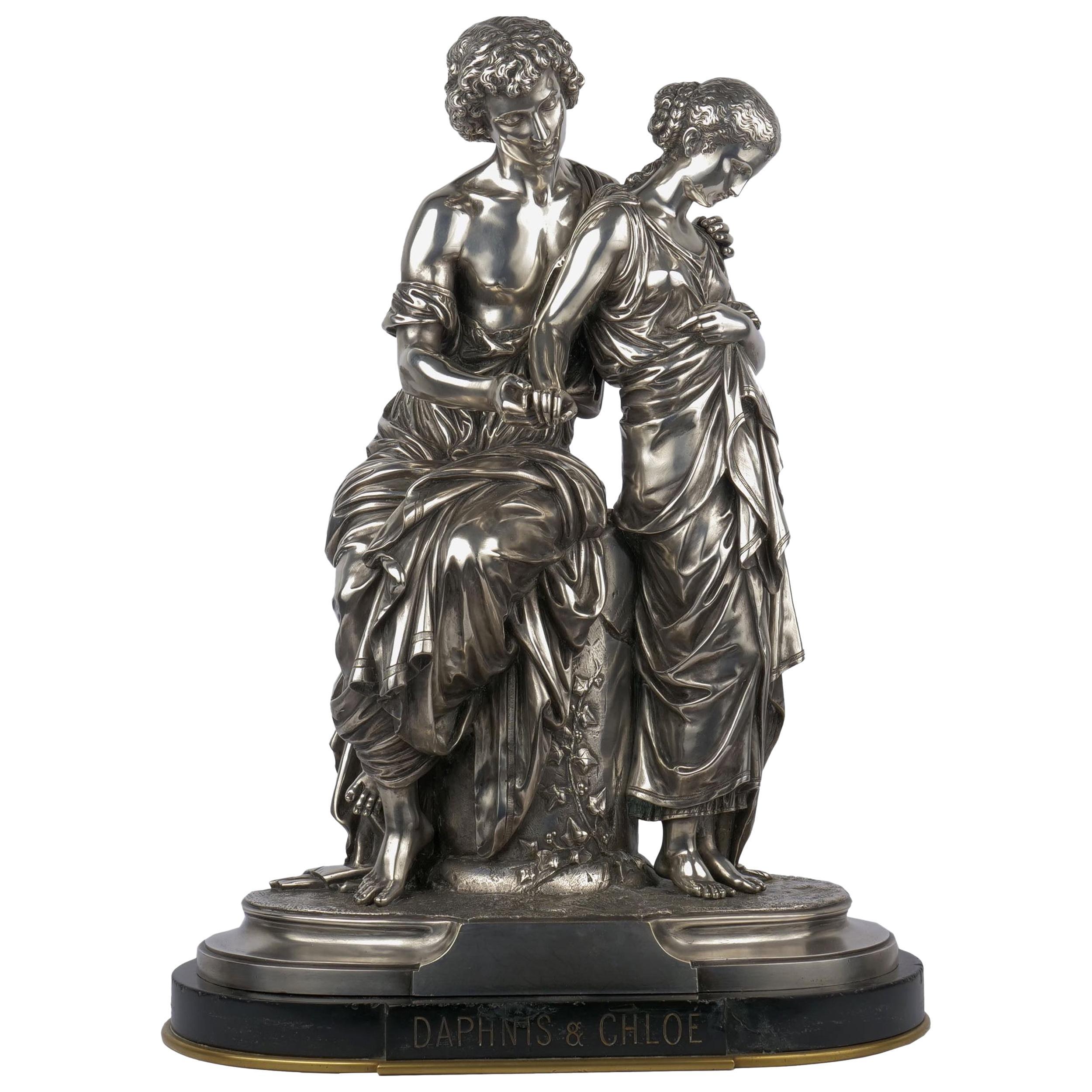 """Daphnis et Chloe"" Silvered Bronze Sculpture by Mathurin Moreau, circa 1880"
