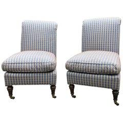 Dapper Pair of Plaid Lee Jofa Slipper Chairs