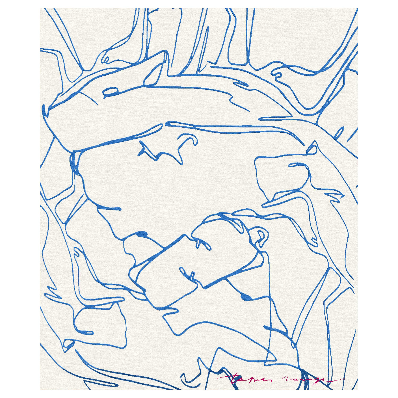 Darfo Azzurro - Animalistic Blue White Hand Knotted Wool Bamboo Silk Rug