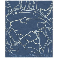 Darfo Blue Notte - Animalistic Contemporary Hand Knotted Wool Bamboo Silk Rug