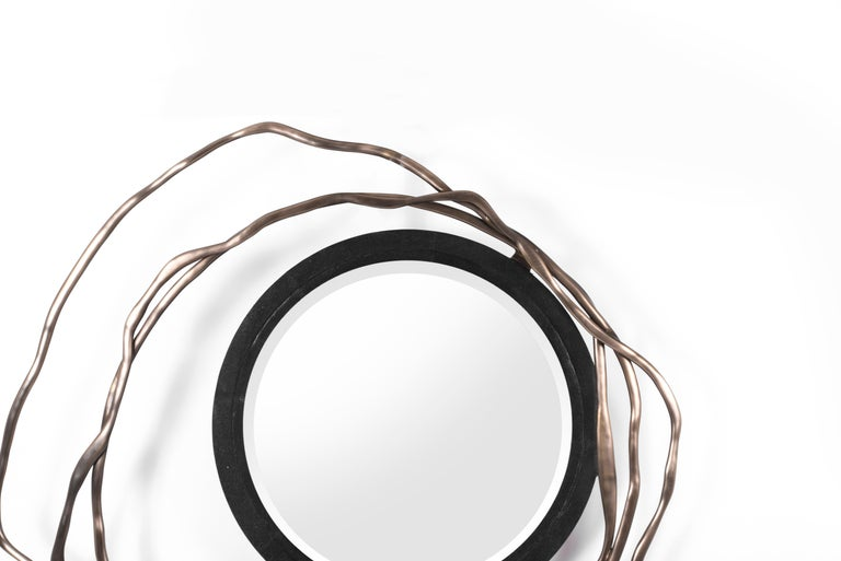 Art Deco Dargelos Mirror in Black Shagreen and Bronze-Patina Brass by Kifu Paris For Sale