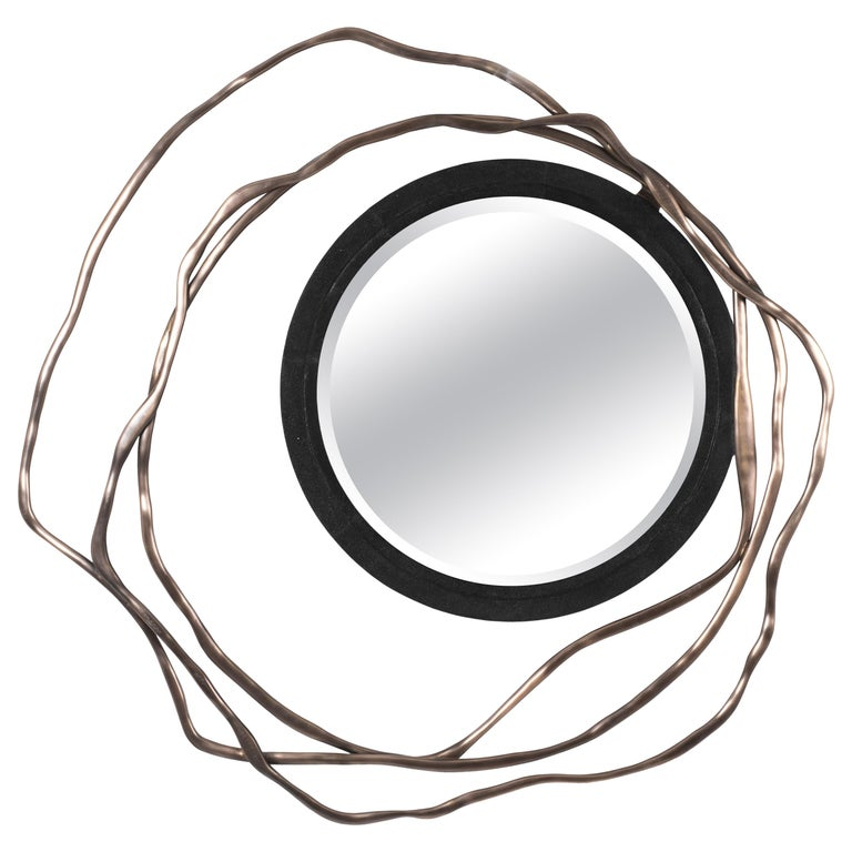 Dargelos Mirror in Black Shagreen and Bronze-Patina Brass by Kifu Paris For Sale