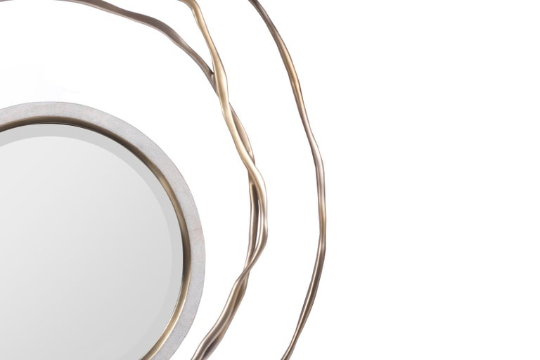 Art Deco Dargelos Mirror in Cream Shagreen and Bronze-Patina Brass by Kifu Paris For Sale